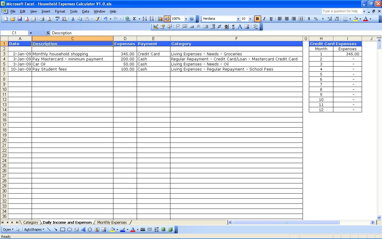 Family Expenses Spreadsheet Throughout Family Monthly Expenses Spreadsheet Household Expenses Marvelous