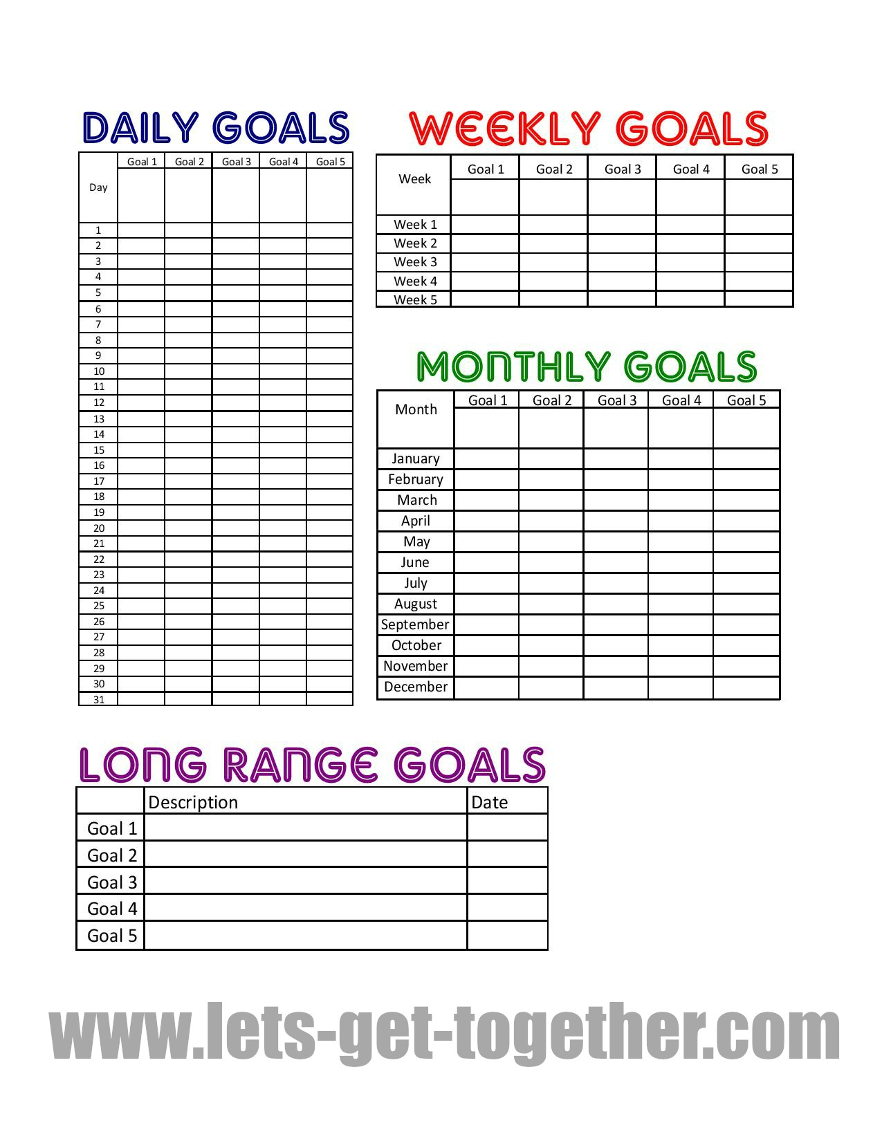 Family Reunion Payment Spreadsheet Within New Year Goal Setting Tips {Free Printable}
