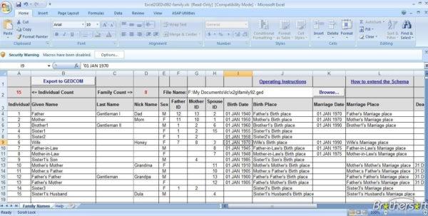 Family Tree Spreadsheet For Family Tree Templates  Download Free Family Tree Templates From
