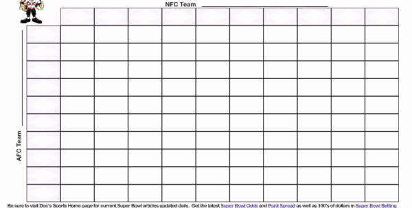Fantasy Football Spreadsheet Template With Regard To Super Bowl Squares Template Excel  My Spreadsheet Templates