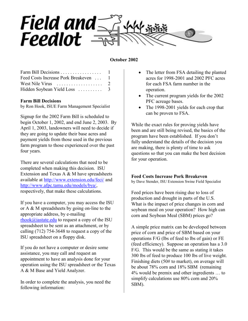 Farm Break Even Spreadsheet With Word Document  Iowa State University Extension And Outreach
