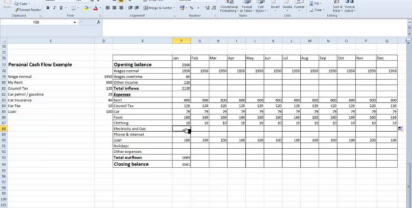 Farm Cash Flow Spreadsheet Pertaining To Personal Cash Flow Statement Template Budget Worksheet Month Farm