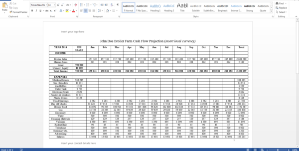 Farm Cash Flow Spreadsheet With Writing A Business Plan For Chicken Farming  Www.chickenbiz