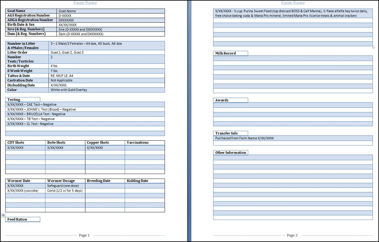 Farm Equipment Maintenance Log Spreadsheet Throughout Goat Health Record Form Downloadable