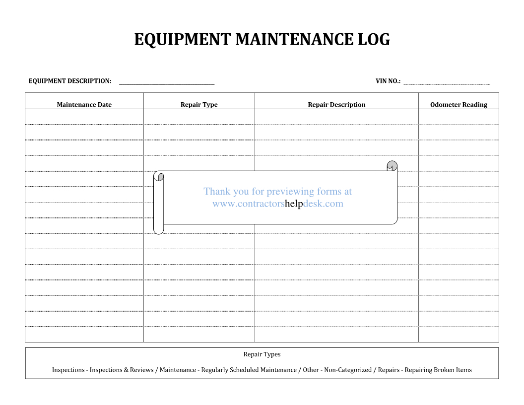 Farm Equipment Maintenance Log Spreadsheet With Regard To Equipment Maintenance Log Template  Charlotte Clergy Coalition