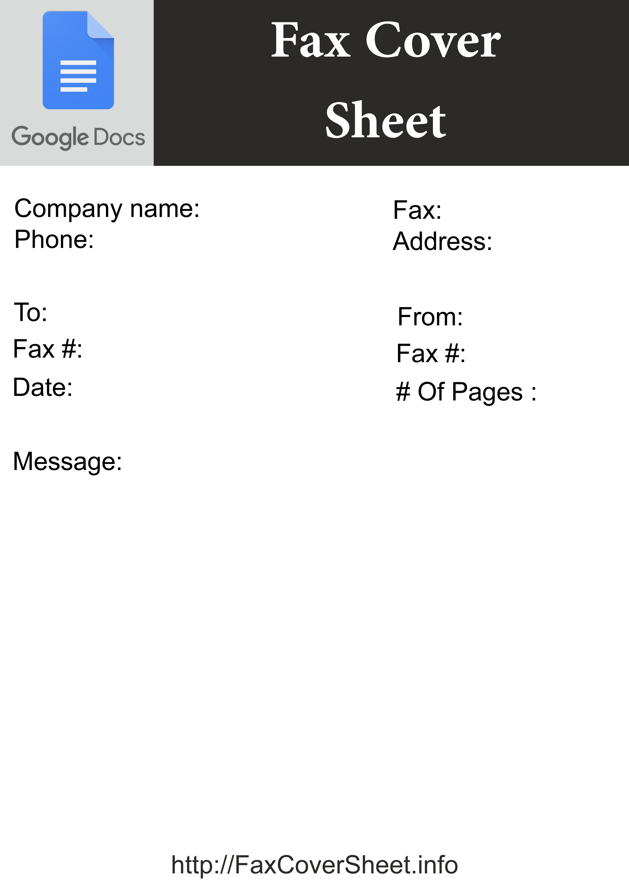 Fax Spreadsheet Pertaining To Ready To Use Google Docs Fax Cover Sheet  [Free]^^ Fax Cover Sheet