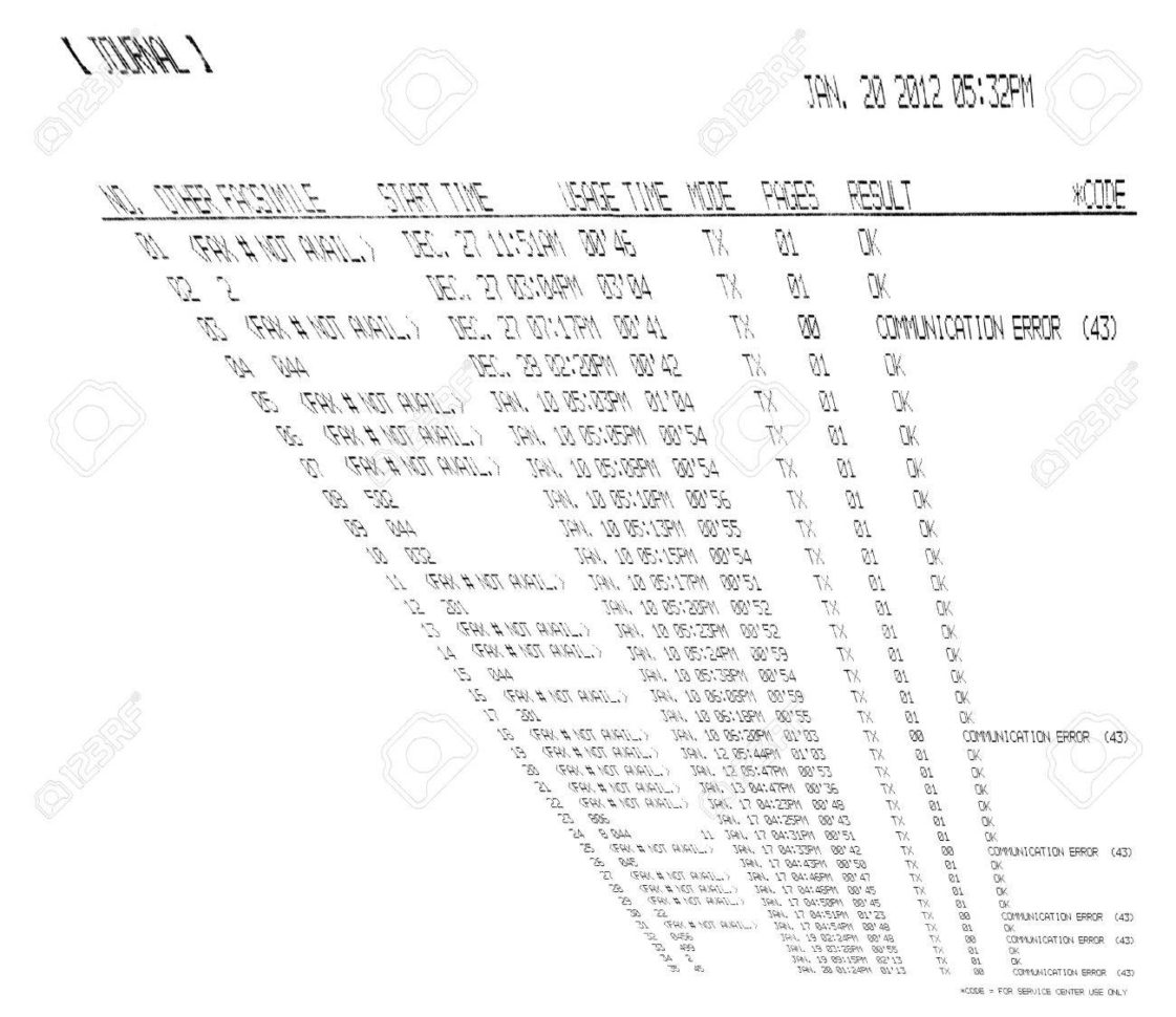 Fax Spreadsheet With Regard To Printed Fax Spreadsheet Isolated On White Background, Modern.. Stock