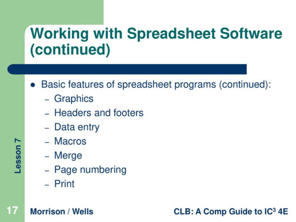 Features Of Spreadsheet Software Regarding Lesson 7 Software Fundamentals  Ppt Download