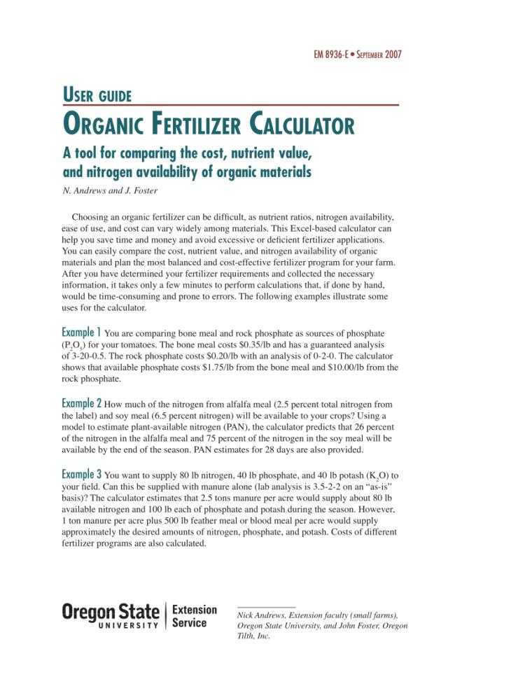 Fertilizer Calculator Spreadsheet Intended For Fertilizer Analysis Worksheet.  Download Scientific Diagram
