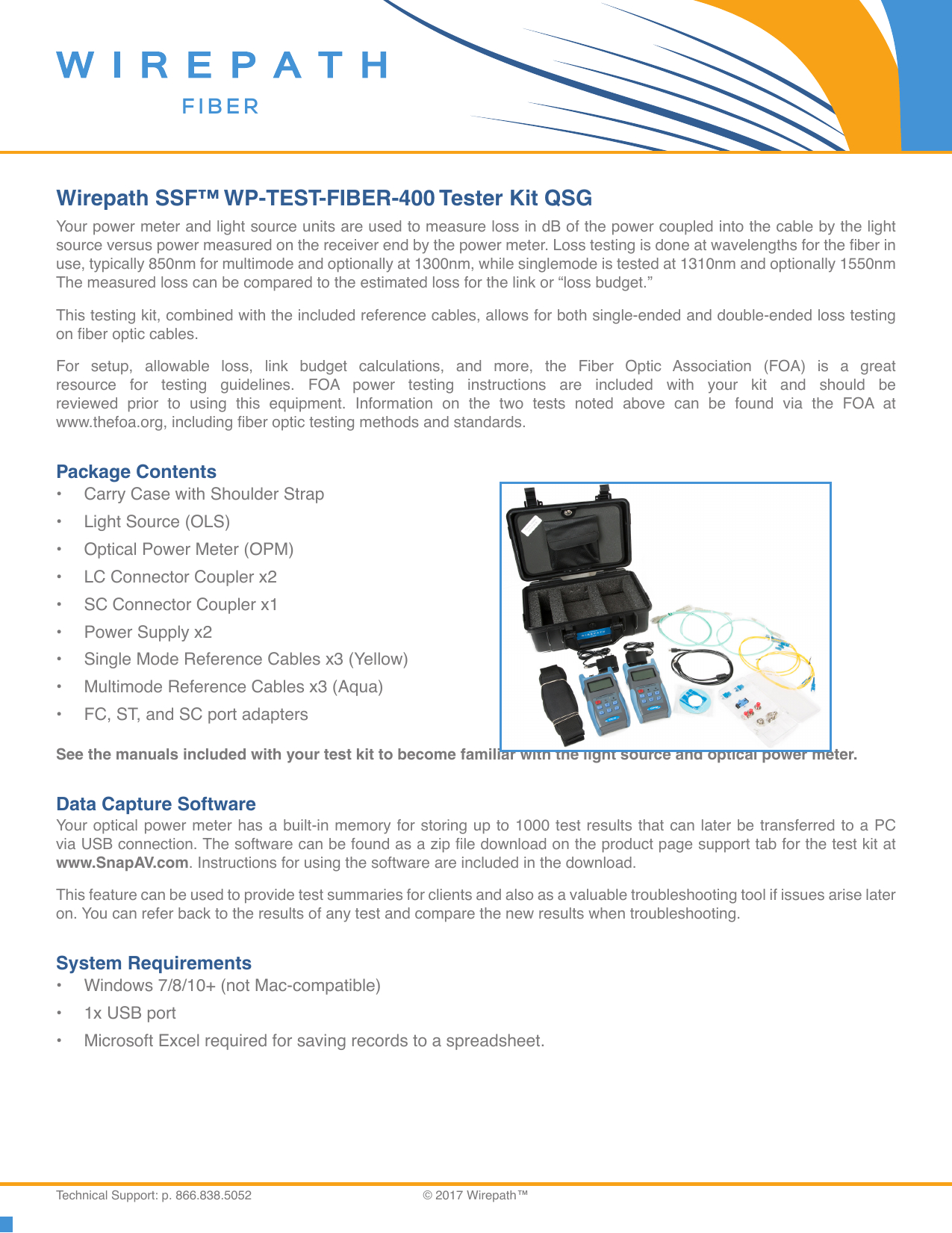 Fiber Optic Spreadsheet Intended For Wirepath Ssf™ Wptestfiber400 Tester Kit Qsg  Manualzz