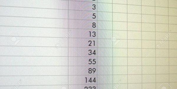 Fibonacci Calculator Spreadsheet Pertaining To Spreadsheet With Fibonacci Sequence On A Computer Screen Stock Photo
