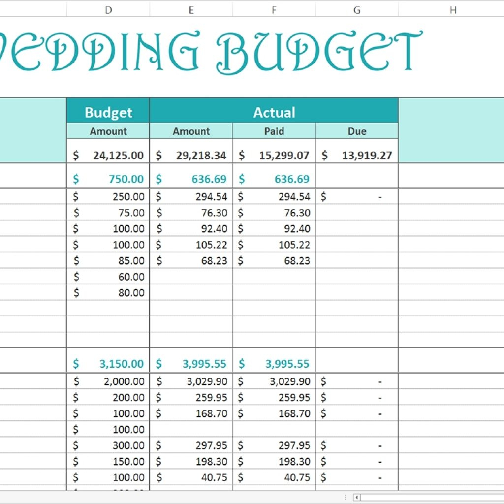Finance Spreadsheet Template Free In Free Wedding Budget  Excel Template  Savvy Spreadsheets With