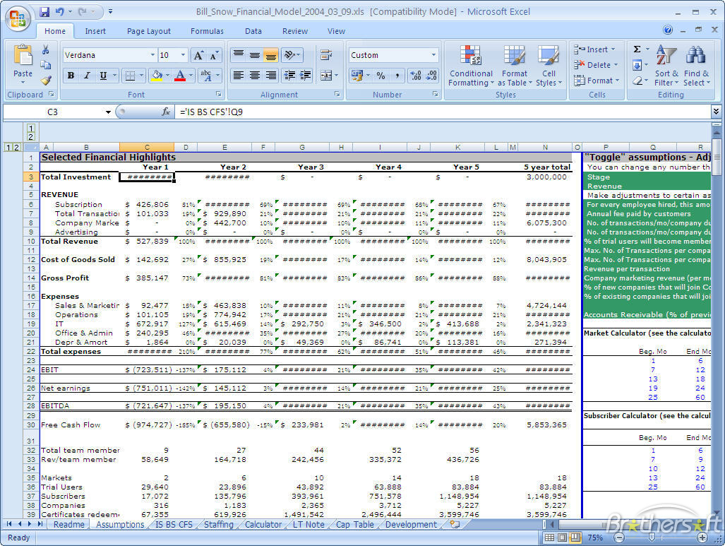 financial model excel spreadsheet