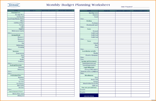 Financial Planning Spreadsheet Template With Financial Planning Spreadsheet Free Plan Template Excel Download