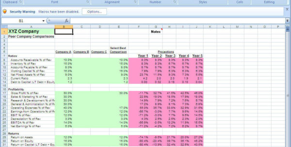 Financial Projections Spreadsheet For Download Free Financial Projections Model Screenshot Excel