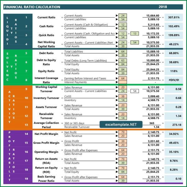 Financial Ratios Spreadsheet Within Financial Ratio  Excel Templates