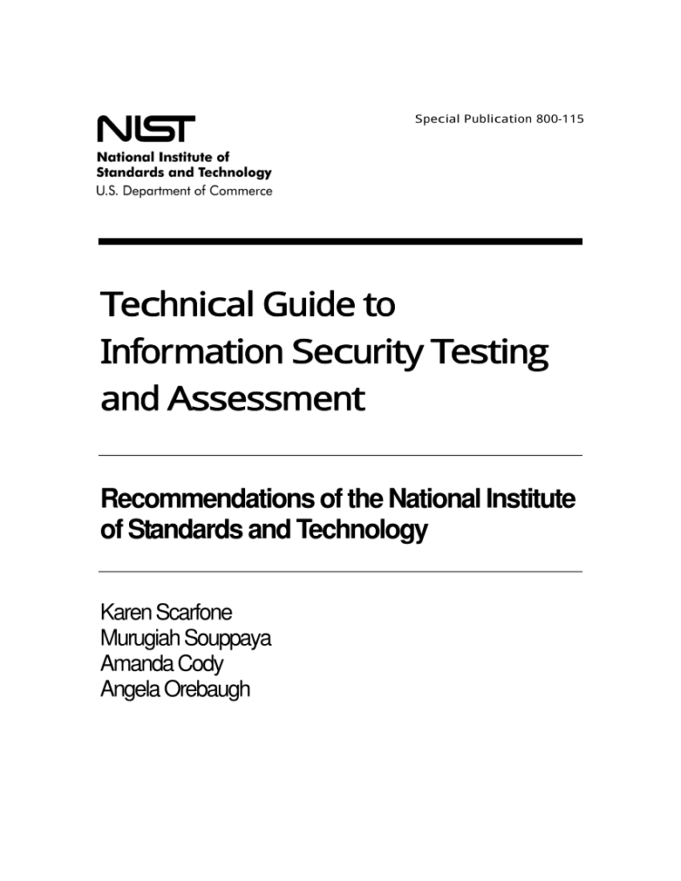 Fips 199 Spreadsheet With Pdf Nist Special Publication 800115, Technical Guide To
