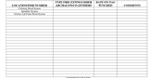 Fire Extinguisher Inventory Spreadsheet With Regard To Fire Extinguisher Inventory Spreadsheet Sheet Inspection Log