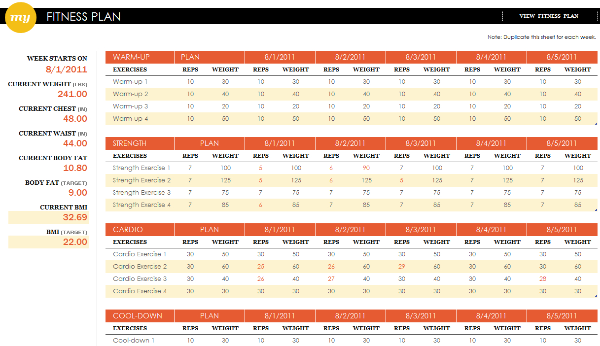 Fitness Plan Spreadsheet For Fitness Plan Excel Template