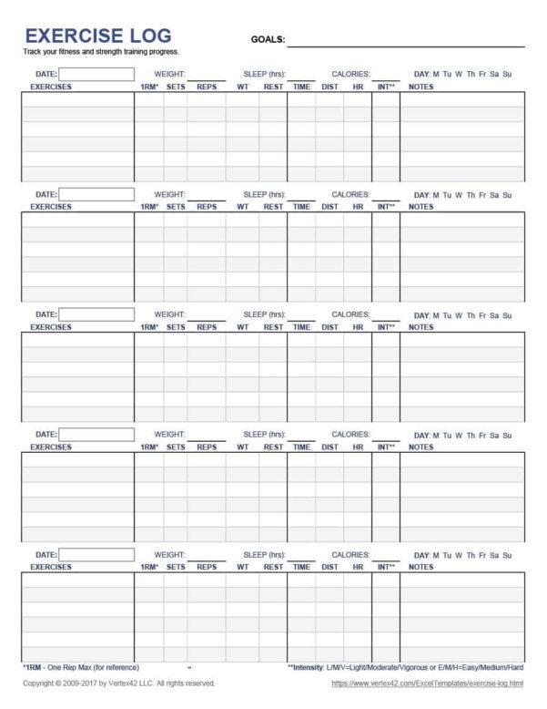 Fitness Plan Spreadsheet Inside 40  Effective Workout Log  Calendar Templates  Template Lab