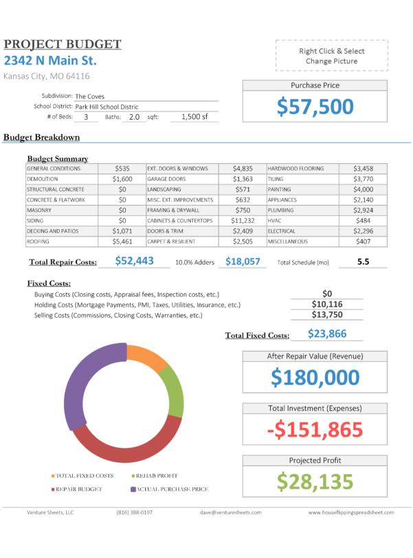 Fix And Flip Spreadsheet Inside House Flipping Spreadsheet  Rehabbing And House Flipping