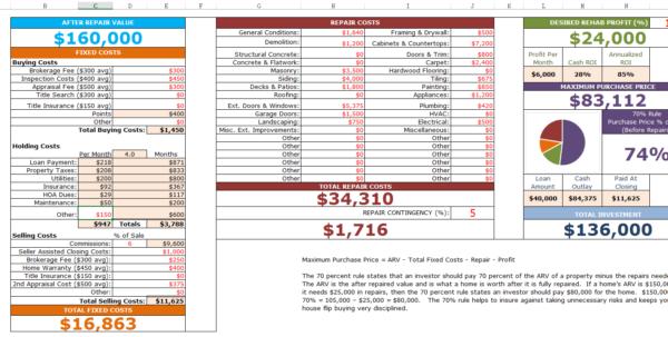 Fix And Flip Spreadsheet Within Fixnflip Rehab Analyzer For Excel