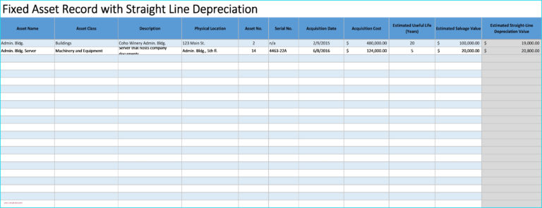 fixed asset spreadsheet inside depreciation schedule
