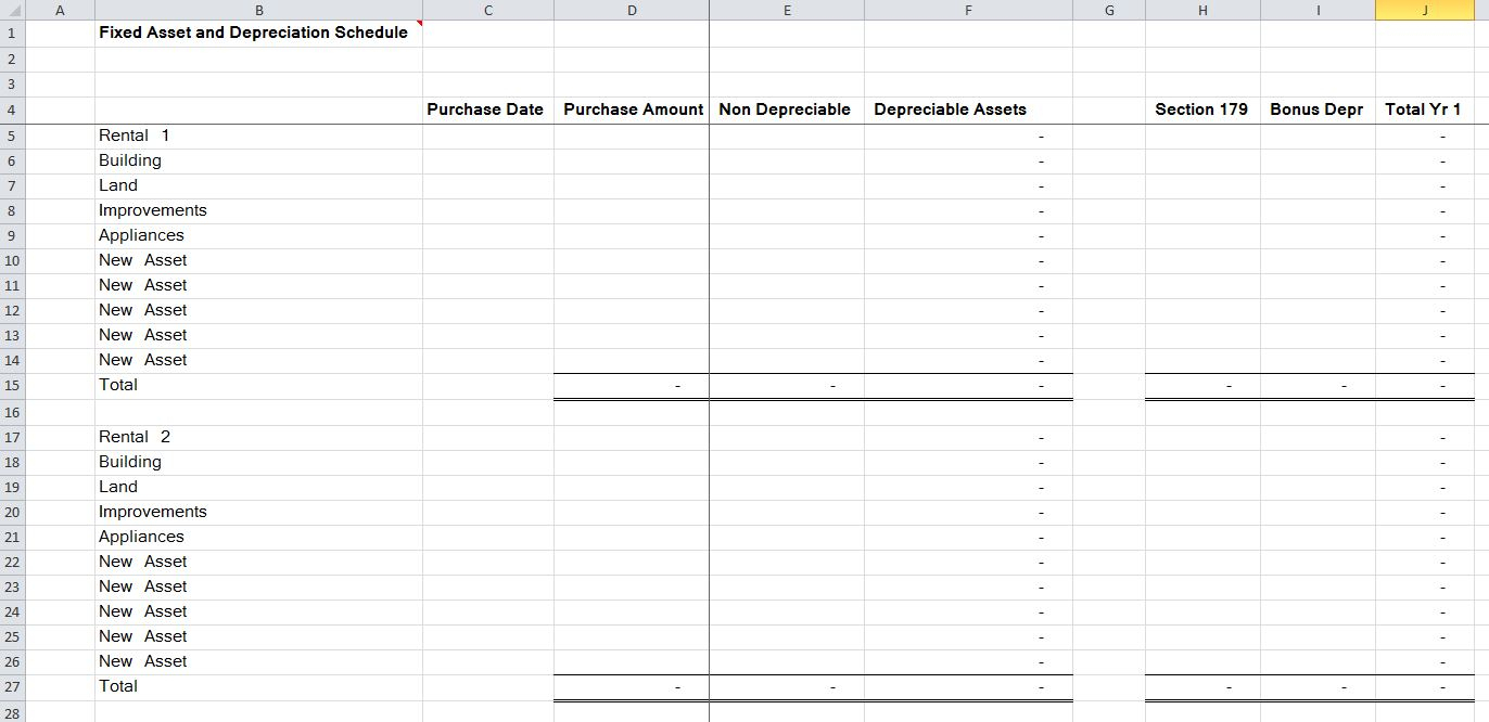 Fixed Asset Spreadsheet Pertaining To 15 Residential Rental Tracking Spreadsheet – Organized Bookkeeping