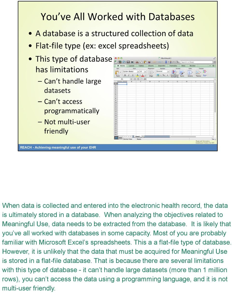 Flat File Database And Spreadsheets Within Welcome To The Data Analytics Toolkit Powerpoint Presentation On Ehr