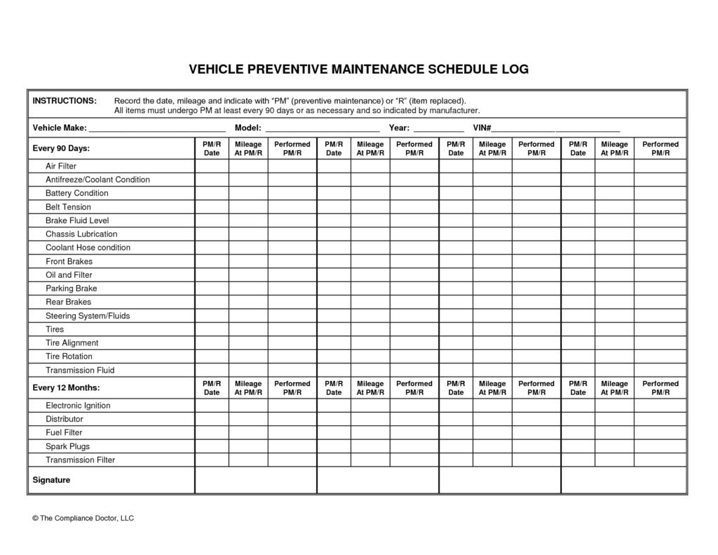 Fleet Inventory Spreadsheet With Fleet Maintenance Spreadsheet And Car Maintenance Checklist