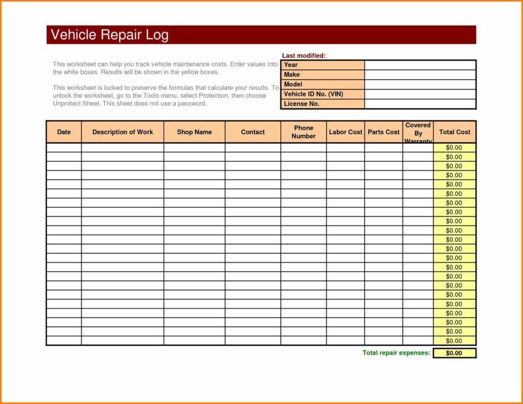 Fleet Maintenance Spreadsheet Template With Fleet Maintenance Spreadsheet And Maintenance Schedule Log