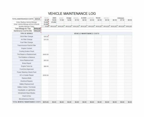 Fleet Vehicle Maintenance Spreadsheet With 40 Printable Vehicle Maintenance Log Templates  Template Lab
