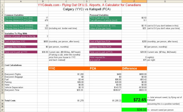 Flight Comparison Spreadsheet Intended For Great Falls  Yyc Deals Calgary