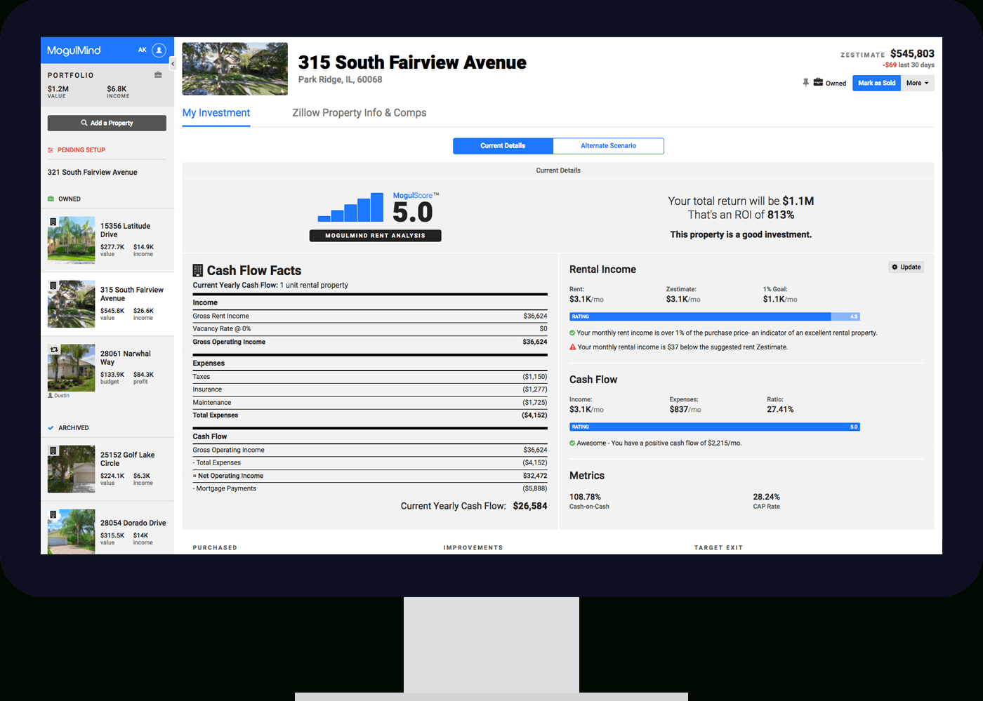 Flip Analysis Spreadsheet Regarding House Flipping Calculator  Rental Projection Tools  Mogulmind