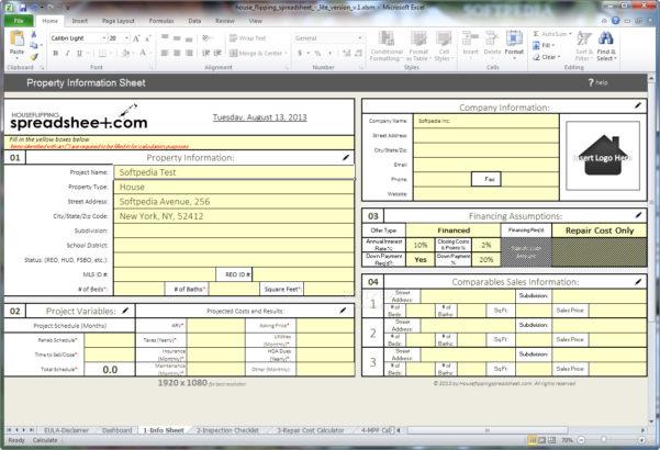 Flip Analysis Spreadsheet Regarding Real Estate Flip Spreadsheet  Aljererlotgd