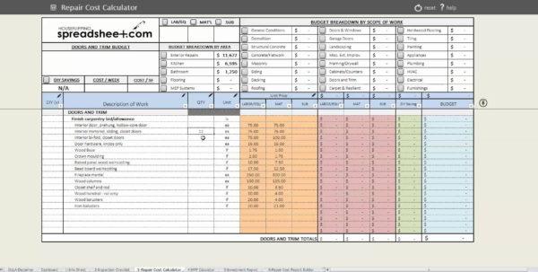 Flip Spreadsheet Excel Inside House Rehab Spreadsheet Selo L Ink Co Flipping 2 Example Of Flip