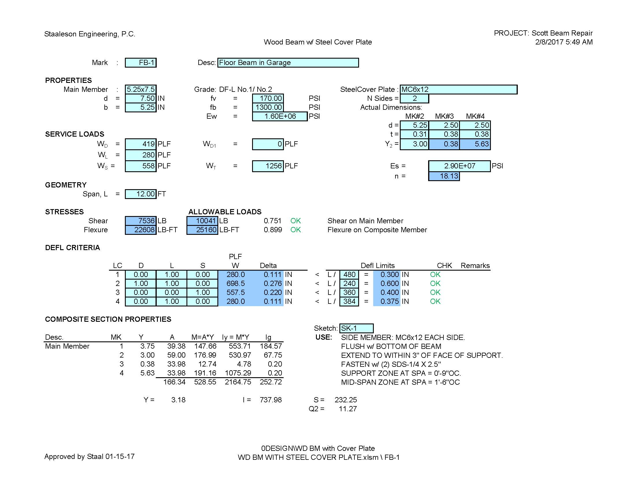 Flitch Beam Spreadsheet Throughout Staaleson Engineering