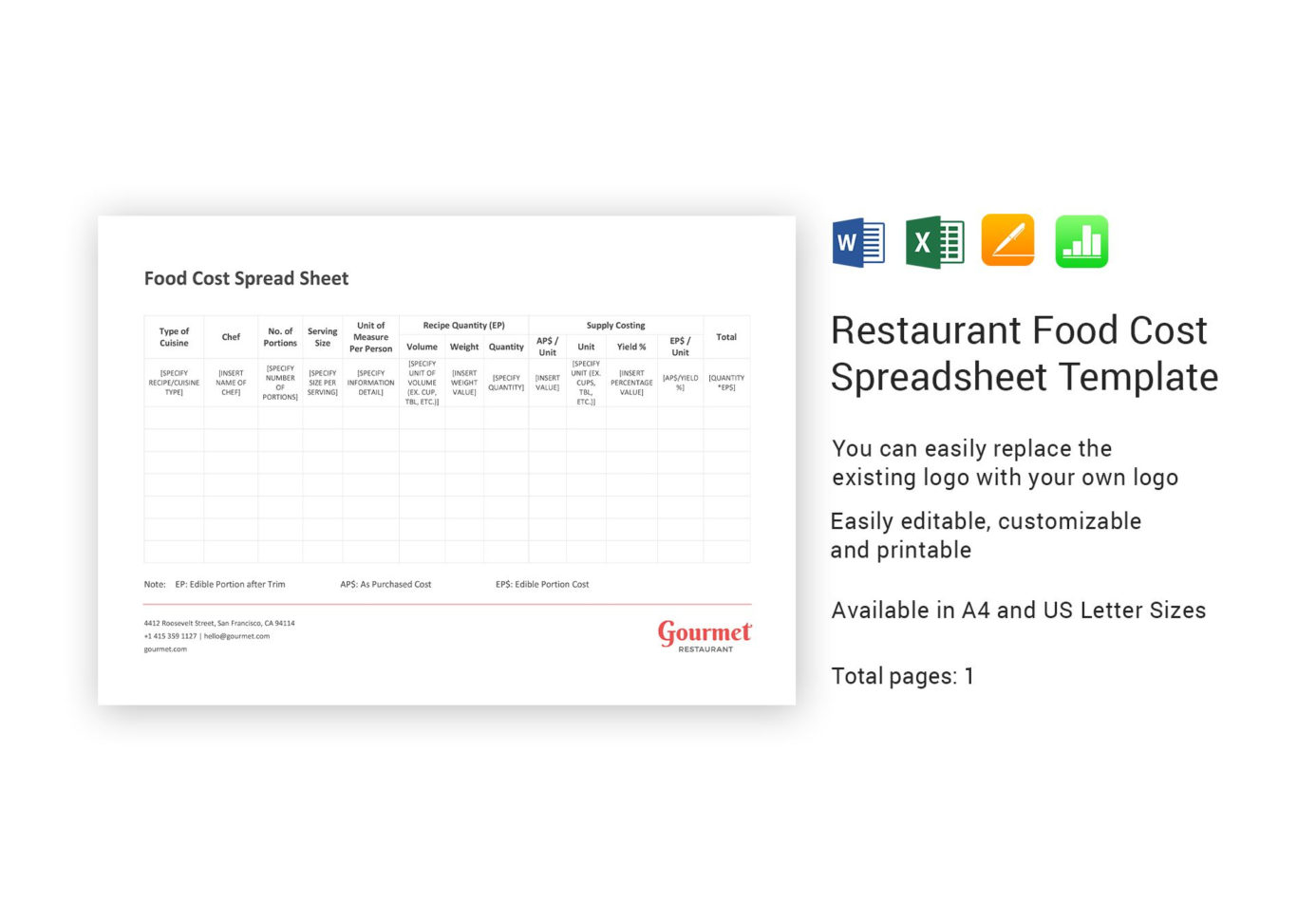 Food Cost Spreadsheet Excel Throughout Restaurant Food Cost Spreadsheet Template In Word, Excel, Apple