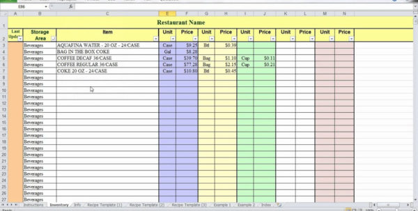 Food Cost Spreadsheet With Regard To Restaurant Food Cost Spreadsheet 2018 Excel Spreadsheet Templates