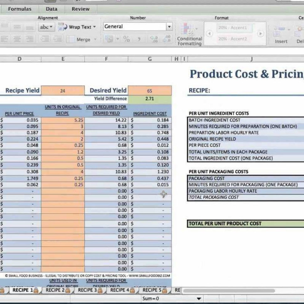 Food Product Cost & Pricing Spreadsheet Free Inside Food Product Cost  Pricing Tutorial  Youtube Pertaining To Food
