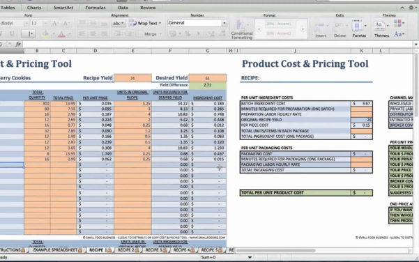 Food Product Cost & Pricing Spreadsheet Regarding Food Product Cost Pricingeadsheet Download Xls Small Business