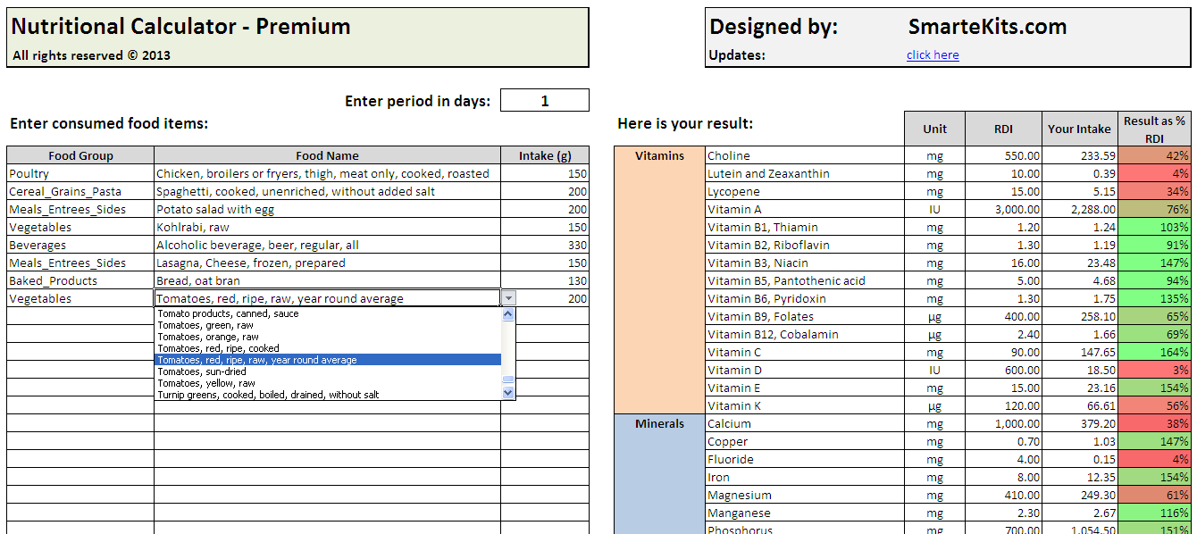 Food Spreadsheet In Daily Calories  Food Nutrition Excel Spreadsheet Calculator  Smart