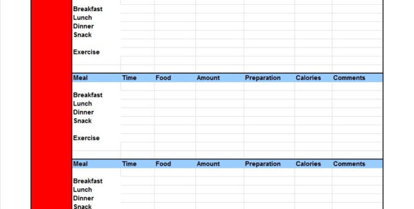 Food Tracking Spreadsheet Intended For 40 Simple Food Diary Templates  Food Log Examples