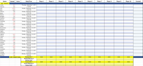 Football Pool Spreadsheet Excel Pertaining To Nfl Weekly Prop Pool Sheet Printable Office Football Via Example Of