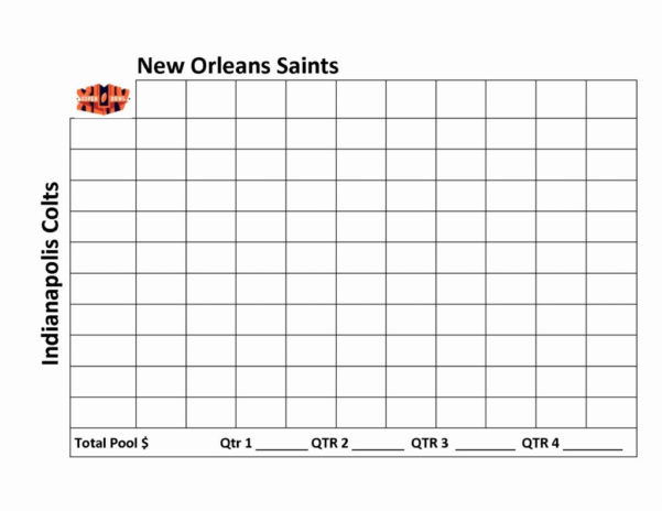 Football Pool Spreadsheet In Weekly Football Pool Spreadsheet Super Bowl Squares Template Excel