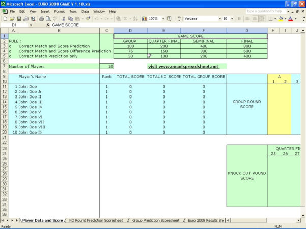 Football Predictions Spreadsheet In Euro 2008 Game Score Prediction – Excel Spreadsheet