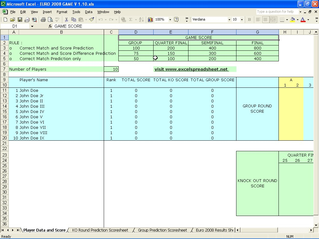 Football Predictions Spreadsheet In Euro 2008 Game Score Prediction – Excel Spreadsheet