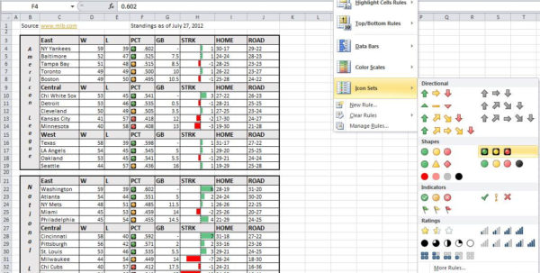 Formatting Excel Spreadsheet With Regard To Use Data Bars And Icon Sets To Major League Baseball Standings Using