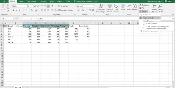 Formatting Excel Spreadsheets In Remove Cell Formatting In Excel  Instructions  Teachucomp, Inc.