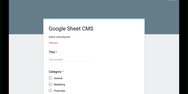 Forms Google Com Spreadsheet Pertaining To How To Use Google Sheets And Google Apps Script To Build Your Own Forms Google Com Spreadsheet Google Spreadsheet